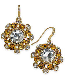 Charter Club Gold-Tone Stone & Crystal Cluster Pinwheel Cluster Drop Earrings, Created for Macy's