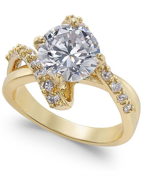 Charter Club Silver-Tone Crystal Bypass Ring, Created for Macy's