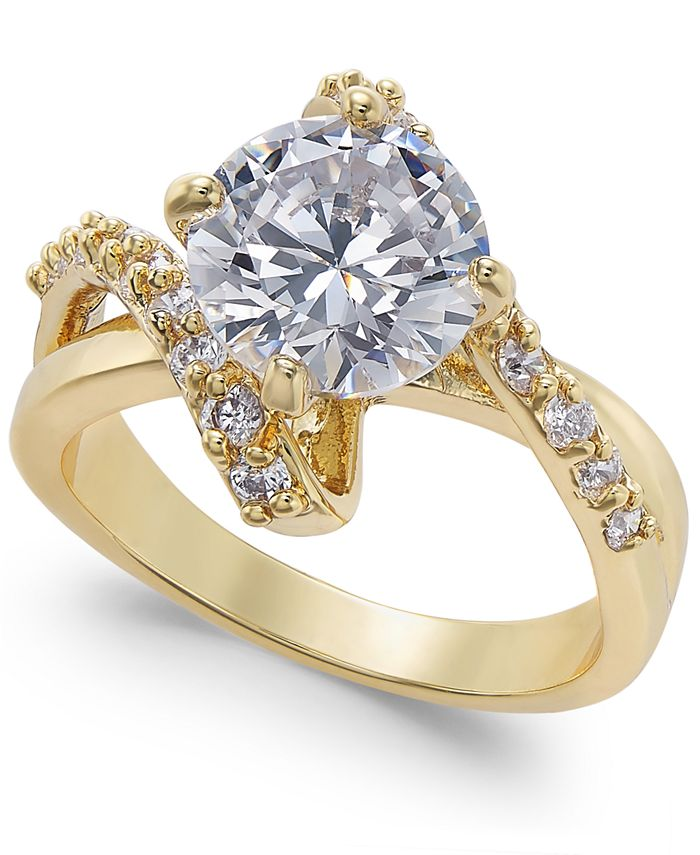 Charter Club - Gold Plate Crystal Bypass Ring