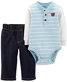 Carter's Baby Boys 2-Pc. Cotton Henley Bodysuit & Jeans Set