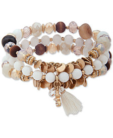 lonna & lilly Gold-Tone 3-Pc. Set Bead & Tassel Stretch Bracelets