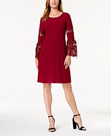 Alfani Lace-Sleeve A-Line Dress, Created for Macy's