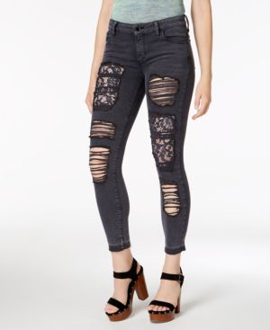 RIPPED LACE-PATCH SKINNY JEANS