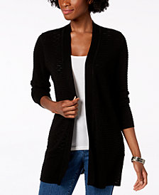 Charter Club Petite Textured Open-Front Cardigan, Created for Macy's