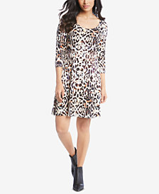 Karen Kane 3/4-Sleeve Printed A-line Dress