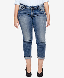 Silver Jeans Co. Plus Size Sam Distressed Boyfriend-Fit Cropped Jeans