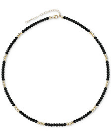"""Lapis Lazuli (3mm) & Gold Bead Choker Necklace in 14k Gold, 14"""" + 2"""" extender (Also in Black Spinel)"""