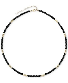 "Black Spinel (3mm) & Gold Bead Choker Necklace in 14k Gold, 14"" + 2"" extender (Also in Lapis Lazuli)"
