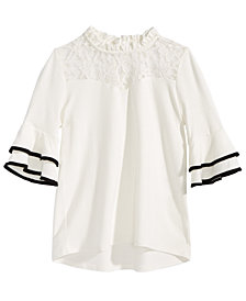 Monteau Big Girls Lace-Trim Bell-Sleeve Top