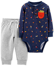 Carter's Baby Boys 2-Pc. Cotton Fries-Print Bodysuit & Jogger Pants Set