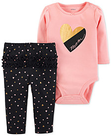 Carter's Baby Girls 2-Pc. Cotton Mom Bodysuit & Heart-Print Pants Set
