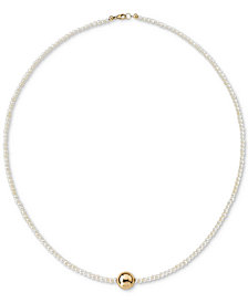 "Cultured Freshwater Pearl (2-1/2mm) & Gold Bead 18"" Collar Necklace in 14k Gold"