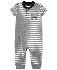 Carter's Baby Boys Striped Monster Cotton Coverall