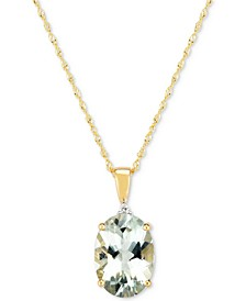 "Prasiolite (4-1/2 ct. t.w.) & Diamond Accent 18"" Pendant Necklace in 14k Gold"