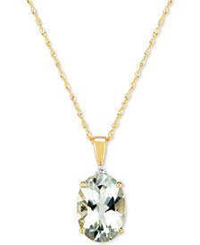 "Green Amethyst (4-1/2 ct. t.w.) & Diamond Accent 18"" Pendant Necklace in 14k Gold"