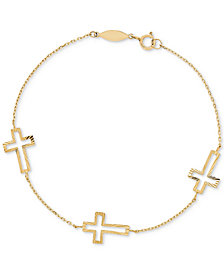 East-West Cross Chain Bracelet in 10k Gold