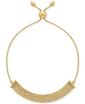 Multi-Bead Bolo Bracelet in 10k Gold -  Macy's