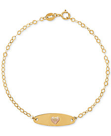 Children's Heart Plate Link Bracelet in 10k Gold & Rose Gold