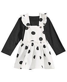 First Impressions Baby Girls 2-Pc. T-Shirt & Dot-Print Jumper Set, Created for Macy's