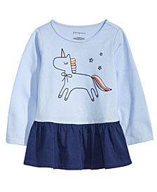 First Impressions Toddler Girls Unicorn-Print Cotton Peplum Tunic, Created for Macy's