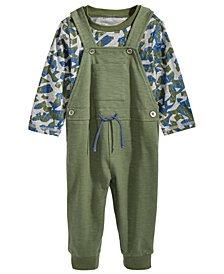 First Impressions Baby Boys 2-Pc. Camo-Print T-Shirt & Overall Set, Created for Macy's