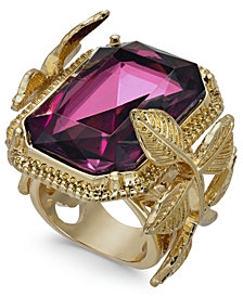 I.N.C. Gold-Tone Leaf & Stone Square Statement Ring, Created for Macy's