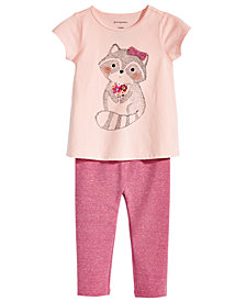 First Impressions Baby Girls Racoon-Print T-Shirt & Metallic Leggings, Created for Macy's