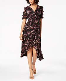 Floral-Print Ruffled Wrap Midi Dress, Created for Macy's, Created for Macy's
