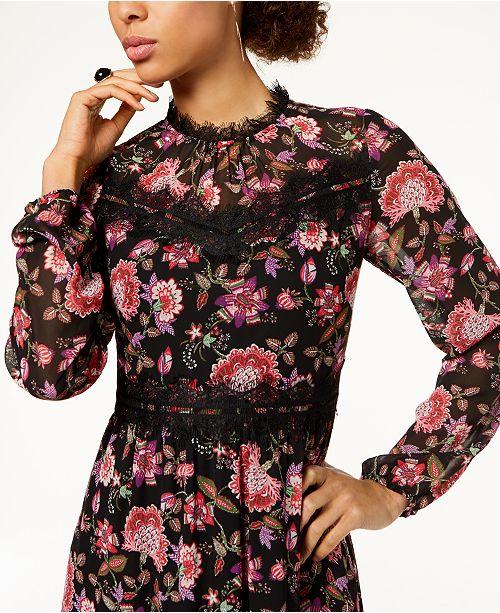 288c4a7ec07e4 Nine West Lace-Trim Floral Chiffon Midi Dress