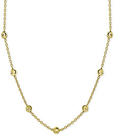 """Giani Bernini Beaded Station Chain Necklace in 18k Gold-Plated Sterling Silver, 18"""" + 2"""" extender, Created for Macy's"""