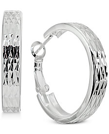 "Giani Bernini Small Textured Flat Hoop Earrings in Sterling Silver, 1"", Created for Macy's"