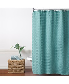 "Saturday Knight Clipped Circles Jacquard 70"" x 72"" Shower Curtain"