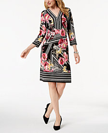 JM Collection Petite Mixed-Print Shift Dress, Created for Macy's