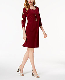 JM Collection Lattice-Sleeve Jersey Dress, Created for Macy's