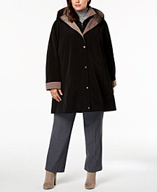 Jones New York Plus Size Colorblock Hooded Raincoat