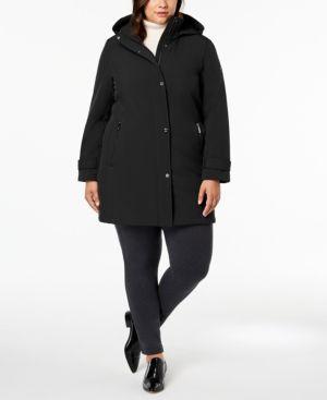 Plus Size Hooded Softshell Raincoat, Black