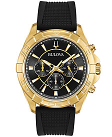 Bulova Men's Black Silicone Strap Watch 43mm