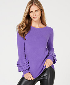 Charter Club Ruffle-Sleeve Cashmere Sweater, Created for Macy's