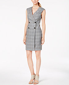 Calvin Klein Plaid Buttoned Coat Dress