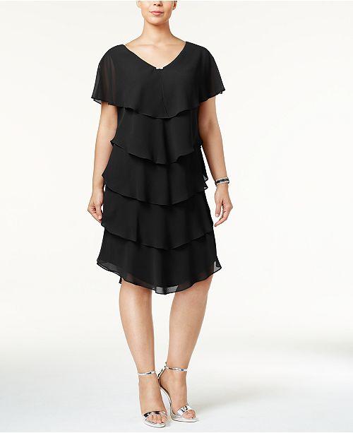 cf18e4195c8 SL Fashions Plus Size Tiered Shift Dress   Reviews - Dresses - Women ...