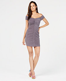 Speechless Juniors' Ruched Metallic-Embellished Dress