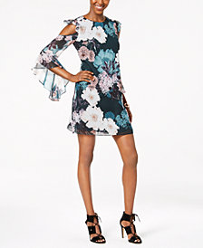 CeCe Floral-Print Cold-Shoulder Dress