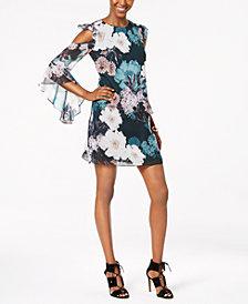 CeCe Floral-Print Cold-Shoulder Dress