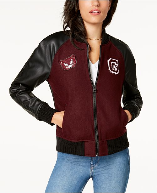 d85fd00b5 GUESS Faux-Leather-Sleeve Bomber Jacket & Reviews - Coats - Women ...