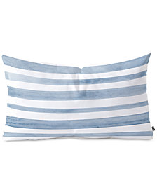 Deny Designs Kelly Haines Blue Watercolor Stripes Oblong Throw Pillow