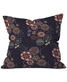 Deny Designs Pimlada Phuapradit Navy Bouquet Throw Pillow