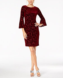 Calvin Klein Burnout Velvet Bell-Sleeve Dress