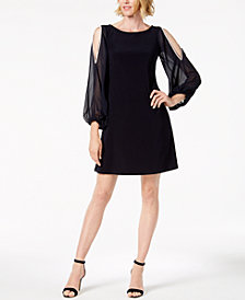 MSK Rhinestone Cold-Shoulder Chiffon-Sleeve Dress