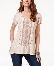 Style & Co Petite Embroidered Tiered Top, Created for Macy's