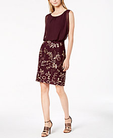 Calvin Klein Chiffon & Embroidered Blouson Dress